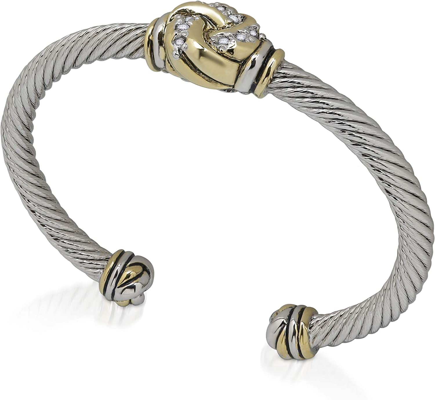 John Medeiros Wire Cuff Bracelet with Knot Style Design wih Clear CZ Stones, Made in America
