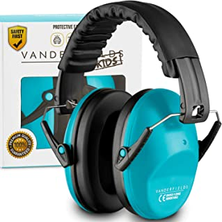 Vanderfields Earmuffs for Kids - Hearing Protection Muffs for Children Small Adults Women - Foldable Design Ear Defenders Protector with Adjustable Padded Headband for Optimal Noise Reduction - Blue