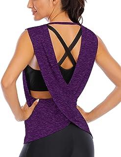 Fihapyli Women's Sleeveless Open Back Shirt Flowy Yoga Top Loose Women Running Tops Backless Active Top Sports Workout Tan...