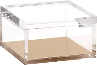 OfficeGoods Acrylic & Gold Odds & Ends Box - Office or Home Accessory - Perfect Container for Storage or for Display - an Elegant Addition to Your Desk, Kitchen or Vanity (Medium)