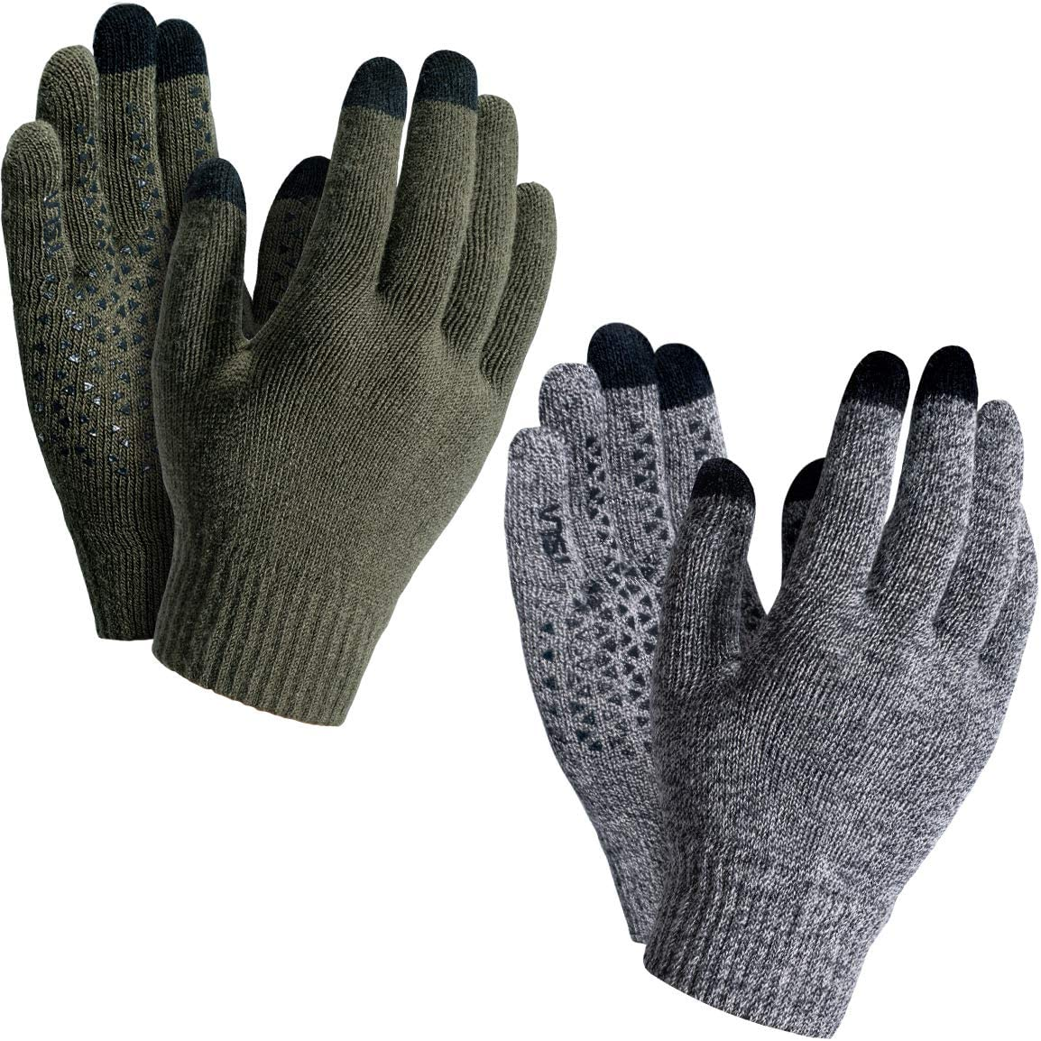 TSLA 1 or 2 Pack Men and Women Touch Screen Winter Gloves, Texting Anti-Slip Thermal Knit Gloves, Cold Weather Running Gloves