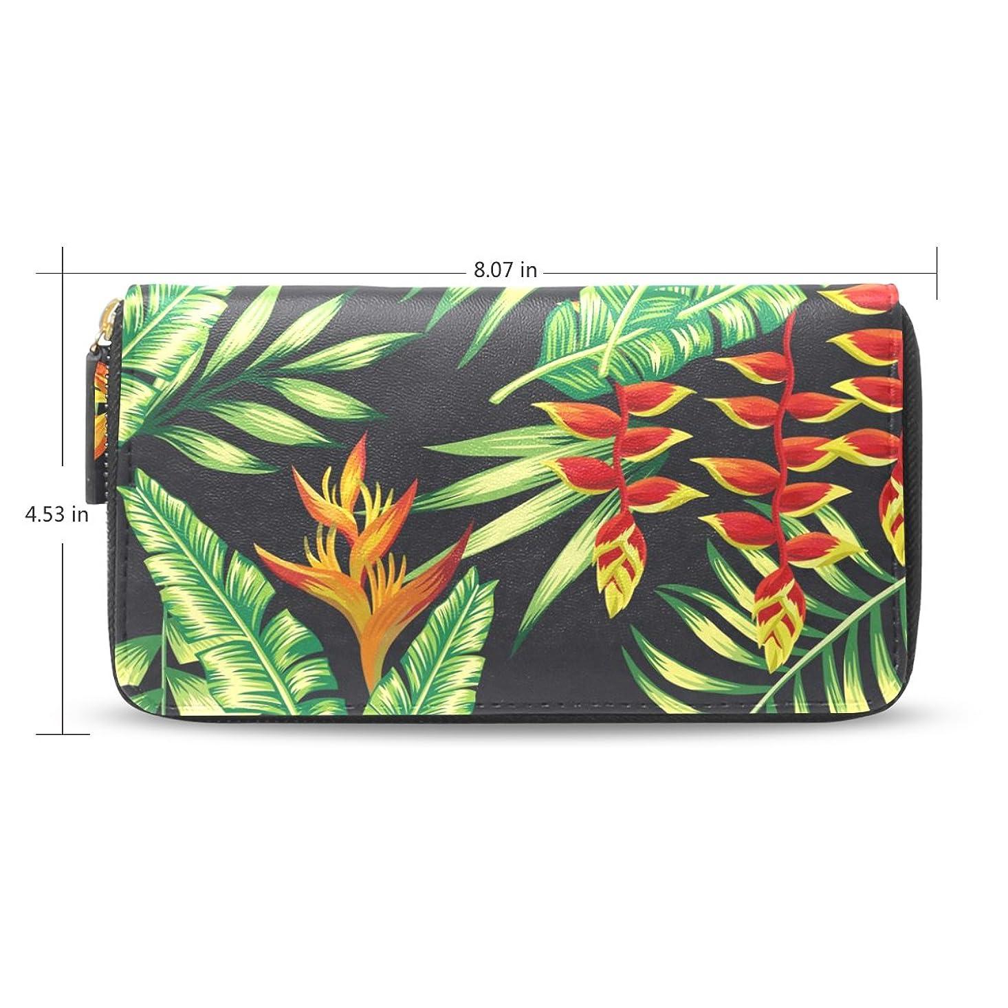浮浪者遺棄された特徴づけるUSAKI(ユサキ) レディース ファスナー 財布,熱帯 夏威夷 緑 グリーン 木の葉 シュロの葉 22,お札 小銭 カード入れ 大容量 長財布 入学式 卒業式 誕生日 プレゼント