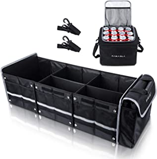 Farasla Waterproof Trunk Organizer with Insulated Leakproof Cooler Bag, Foldable Cover, Adjustable Securing Straps (4-in-1...
