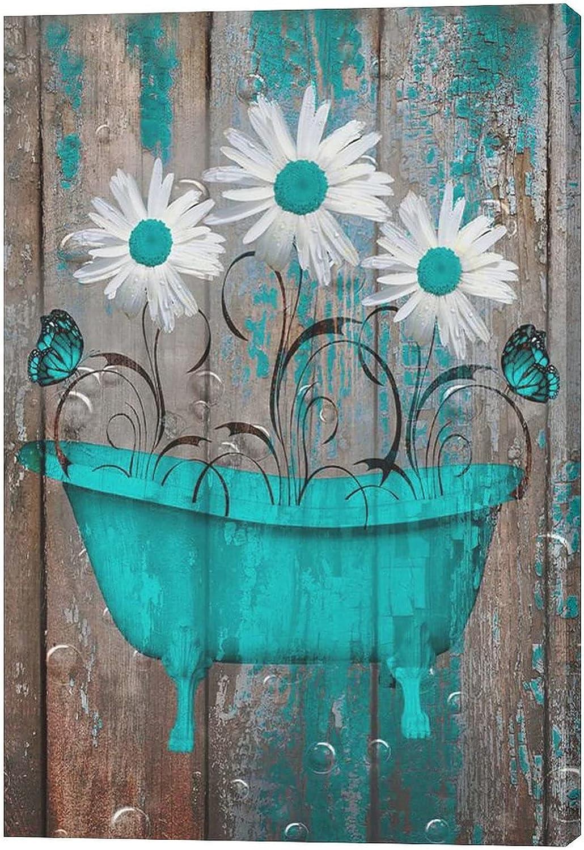 citari Rustic Sales for sale Teal Brown Choice Farmhouse Decor Bathroom Flowers Daisy