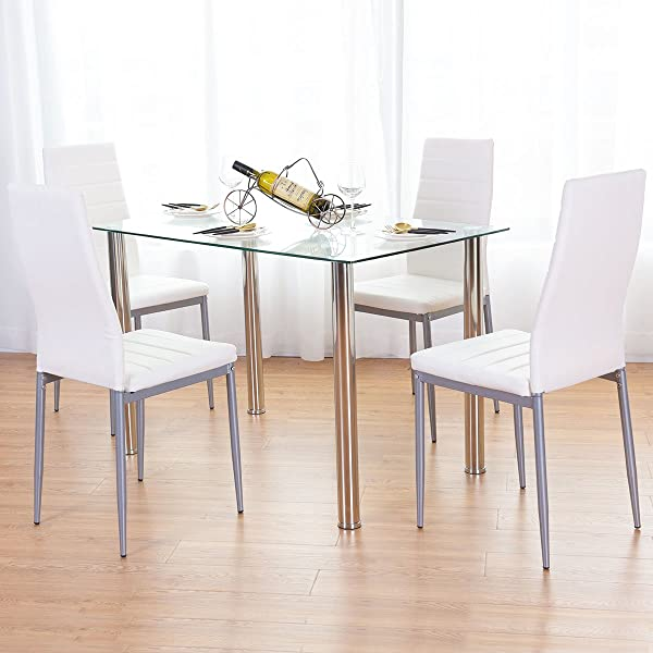 Tangkula Dining Table Set 5 PCS Modern Tempered Glass Top PVC Leather Chair Dining Table And Chairs Set Dining Room Kitchen Furniture White