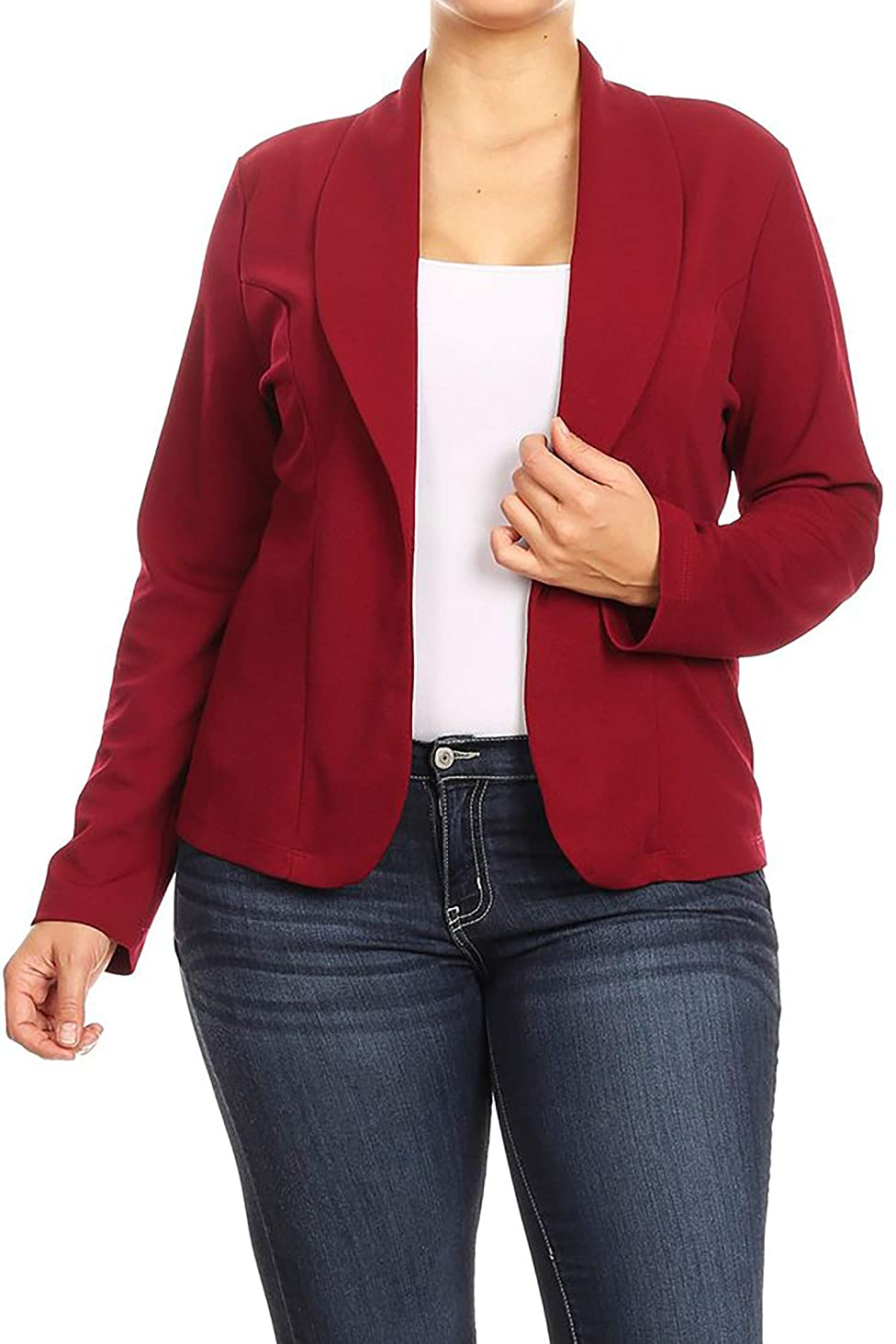 Women's Plus Size Casual Solid Basic Long Sleeve Blazer Cardigan Jacket/Made in USA