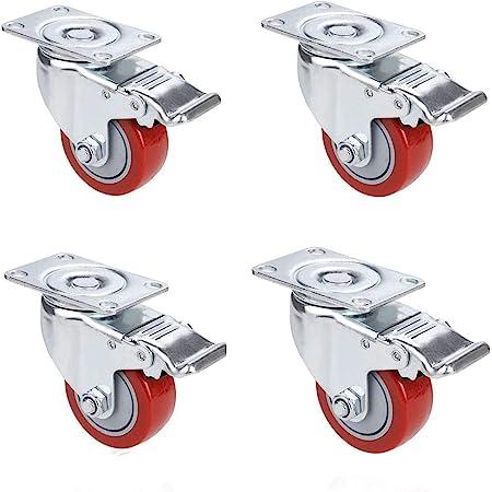 Voluker Roulette Pivotante avec Frein 75 mm, Roulettes en caoutchouc supporte max 400kg, Lot de 4, Rouge