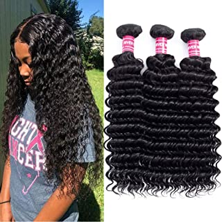 8A Malaysian Virgin Human Hair Deep Wave 3 Bundles 100% Unprocessed Malaysian Hair Weave Deep Curly Hair Bundles Natural Color (10 12 14inch)