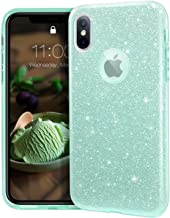 """MATEPROX iPhone Xs case,iPhone X Glitter Bling Sparkle Cute Girls Women Protective Case for iPhone Xs/X 5.8""""-Green"""