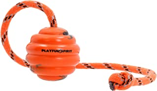 PlayfulSpirit Durable Natural Rubber Ball on a Rope - Perfect Dog Training Exercise and Reward Tool - Medium Size Dog Toy for Fetch Catch Throw and Tug War Plays – Happy Playtime Guaranteed