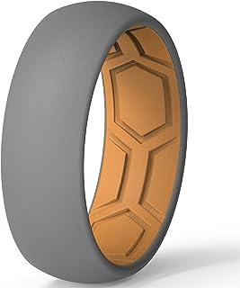 خاتم زفاف مصنوع من السيليكون المسامي من ثاندرفيت للرجال - 7 خواتم / 4 حلقات / خاتم واحد - عرض 8 مم - سمك 2 ملم