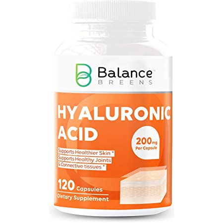 Balance Breens Hyaluronic Acid Supplement 200 mg per Capsule - 120 Non-GMO Capsules - Supports Skin Hydration, Youthful Skin, Joints Lubrication, Antioxidant and Immune Support