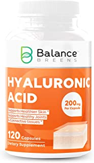 Balance Breens Hyaluronic Acid Supplement 200 mg per Capsule - 120 Non-GMO Capsules - Supports Skin Hydration, Youthful Sk...