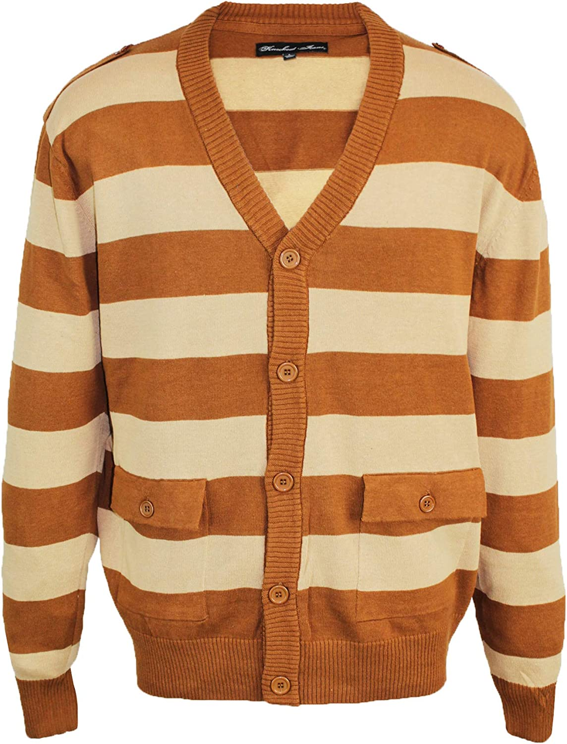 Knockout Jeans Big and Tall Men's Striped Cardigan Sweater with Button Closure