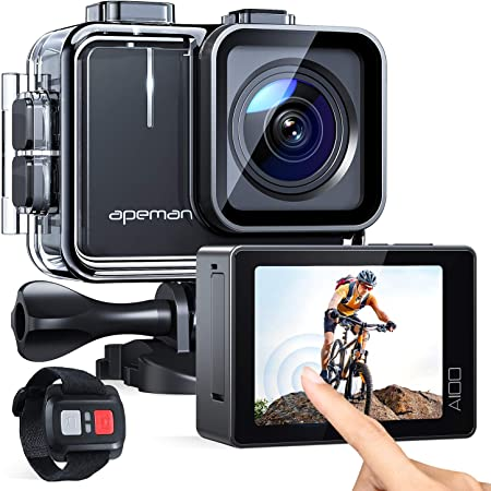 APEMAN A100 Action Cam - Videocamera subacquea 4K/50 fps, UHD, WiFi, 20 MP, impermeabile fino a 40 m, (supporto video Extreme EIS, schermo IPS, 2 batterie da 1350 mAh)