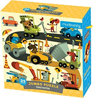 "Mudpuppy Construction Site Jumbo Puzzle, 25 Jumbo Pieces, 22""x22"", Great for Kids Age 2+, Fun Colorful Illustrations of Dogs on a Construction Site, Rope Handle on Box"