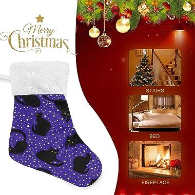 "Blueangle Black Cat Mini Christmas Stockings, [6 Pack] 7.87"" Small Xmas Stockings for Kids Goodie Bags - Christmas Tree D"