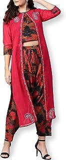Pannkh Chaqueta bordada para mujer con top y pantalones estampados