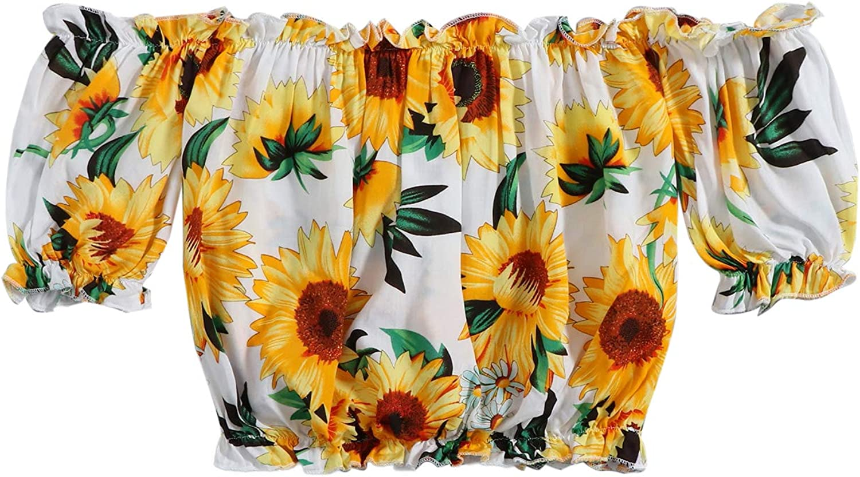 Floerns Womens Floral Embroidery Off Shoulder Short Sleeve Crop Top