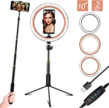 """EEEKit 10"""" Ring Light with Tripod Stand & Phone Holder for YouTube Video, Desktop Camera Led Ring Light for Streaming, Makeup, Selfie Photography Compatible with iPhone Android"""