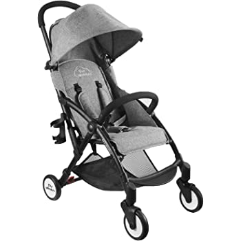 Tiny Wonders Single Baby Stroller with Dual-Brake, Portable Lightweight Travel Pram with Large Canopy for Infant, Toddler, Baby Boys and Girls, Unisex 6 Month Old and Up(Gray)