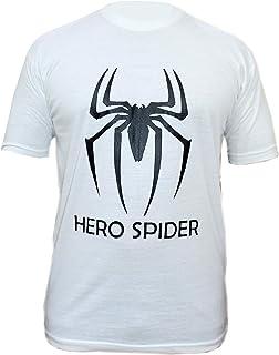 VearFit White Spider Men Casual T Shirt Short Sleeve Crew Neck Men