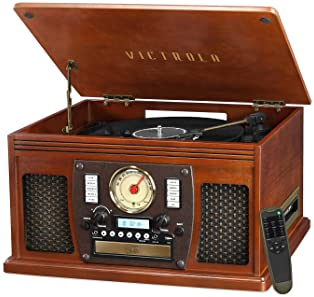 Victrola 8-in-1 Bluetooth Record Player & Multimedia Center, Built-in Stereo Speakers - Turntable, Vinyl to MP3 Recor...