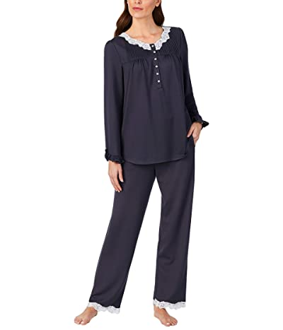 Eileen West Sweater Knit V-Neck Pajama Set (Charcoal) Women
