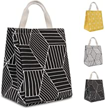 HOMESPON Reusable Lunch Bag Insulated Lunch Box Canvas Fabric with Aluminum Foil, Lunch Tote Handbag for Women,Men,School, Office (Geometric Black)