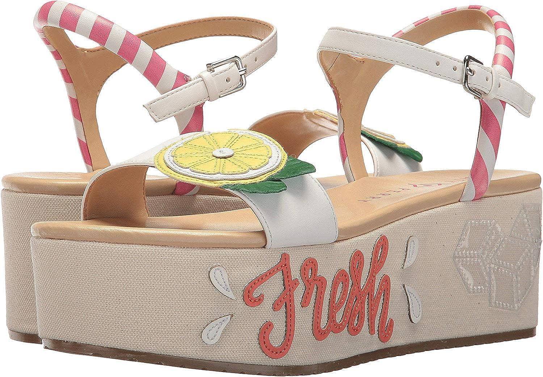 Katy Perry Womens Carolynn Canvas Lemon Flatform Sandals