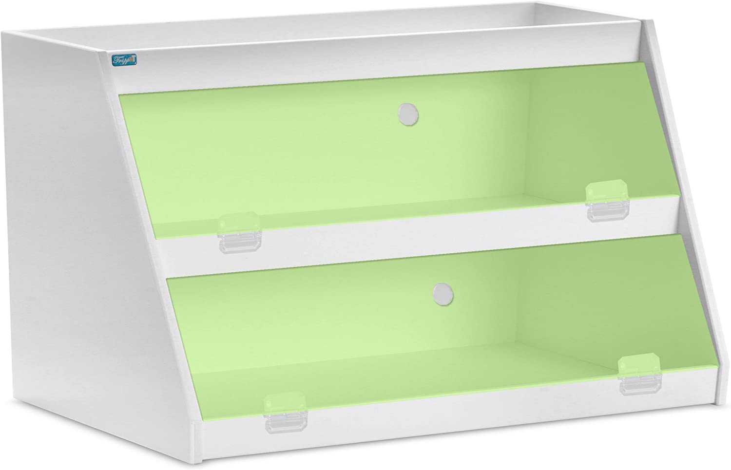 TrippNT 50479 PVC Angled Triple Safety Shelves with Green Door, 24-Inch Width x 12-Inch Height x 9-Inch Depth, Green White