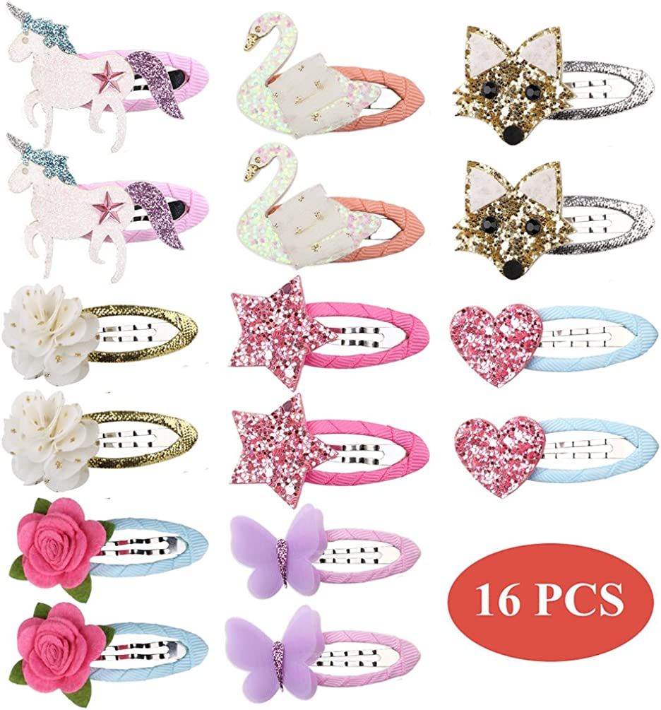inSowni 16pcs Snap All items free shipping Alligator Hair Barrette Bab for Unicorn Clips Popular popular