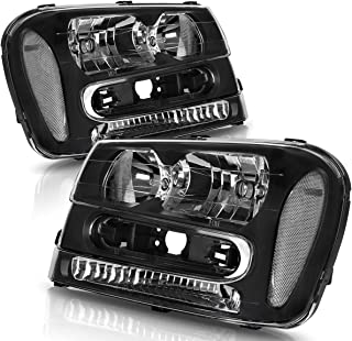 Headlight Assembly For 2002-2009 Chevy Trailblazer Headlamp Black Housing Clear Reflector