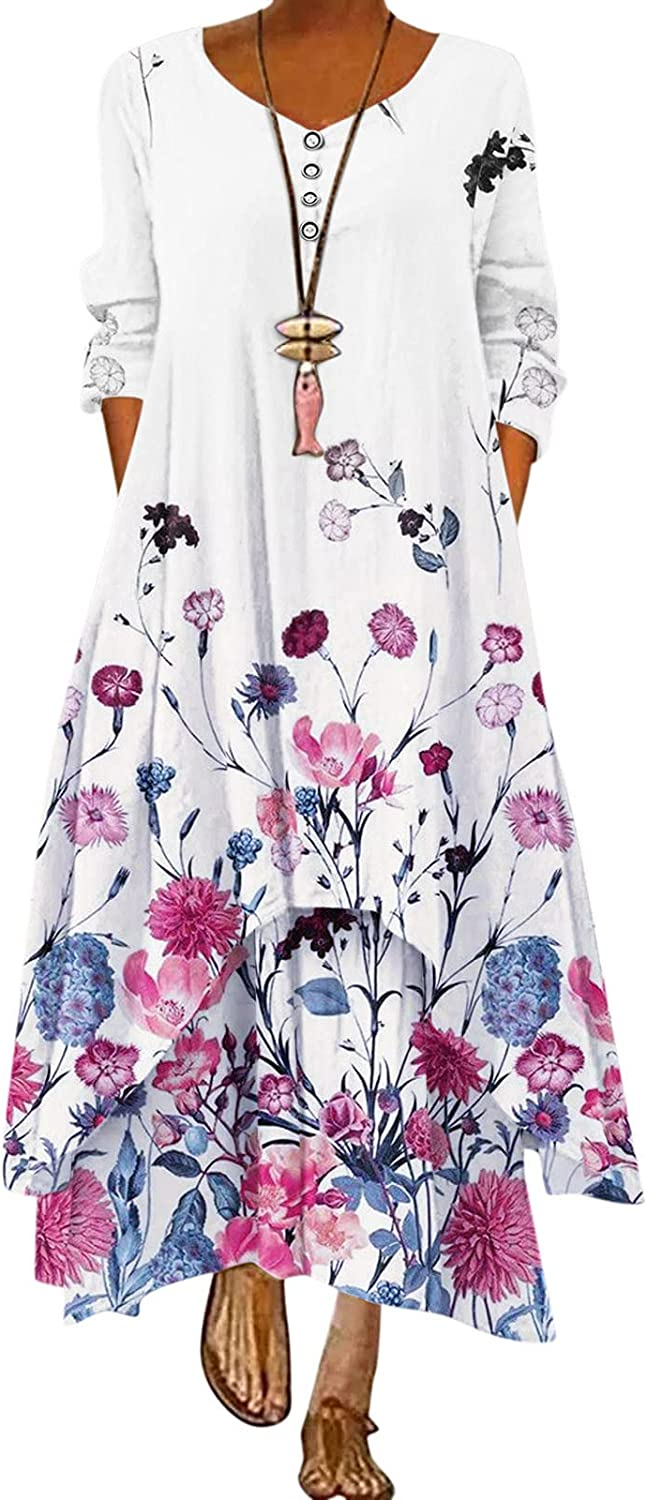 GCETTIC Dresses for Womens, Casual Women's Floral Printed Maxi Dress Loose Long Sleeve Bohemian Plus Size Long Dress