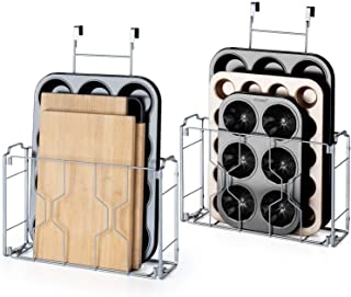 Auledio 2 Pack Over the Door/Wall Mount Cabinet Organizer Storage Basket in Kitchen or Pantry for Cutting Board, Aluminum ...