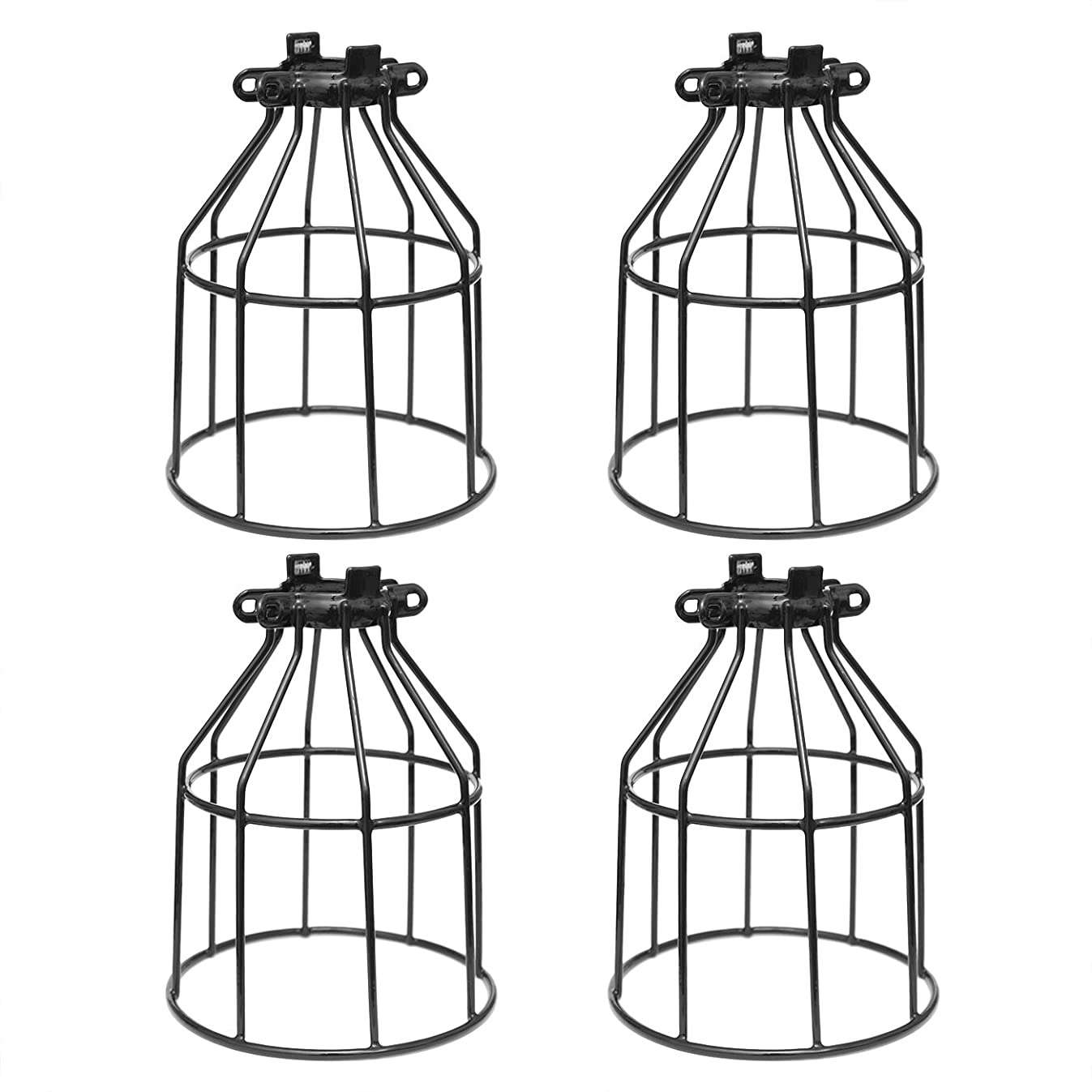 Metal Bulb Guard, Clamp On Steel Lamp Cage for Hanging Pendant Lights, Ceiling Fan Light and Vintage Lamp Holders,Open Style Black Industrial Wire Iron Bird Cage,4-Pack, by Seaside Village