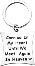 ENSIANTH Memorial Keychain Sympathy Gift Carried in My Heart Until We Meet Again in Heaven Angel Wing Keychain Loss of Loved One Gift Remembrance Jewelry