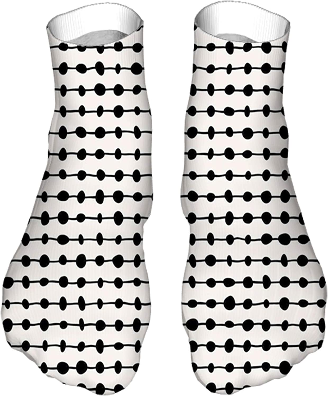 Women's Colorful Patterned Unisex Low Cut/No Show Socks,Geometric Composition of Dots on Horizontal Lines Abstract