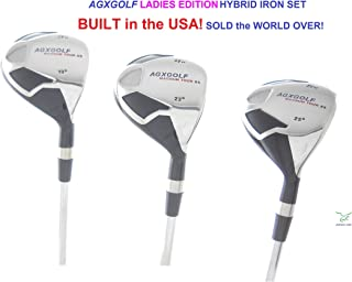 AGXGOLF Ladies Magnum XS #3, 4 & 5 Hybrid Utility Irons Set Choose Graphite or Steel Shafts + Covers Right Hand; Petite, Regular or Tall Lengths! Built in The USA!