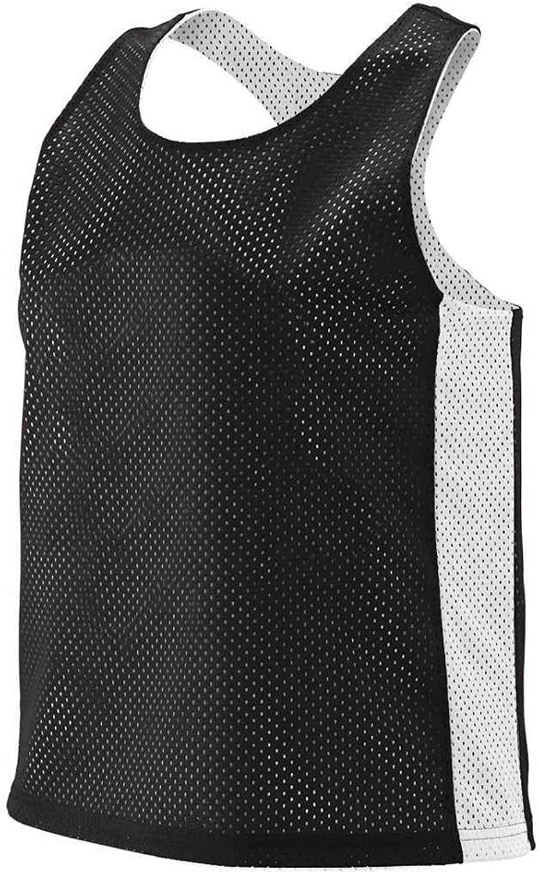 968 Ladies Reversible Tricot Mesh Lacrosse Tank BLACK WHITE 2XL