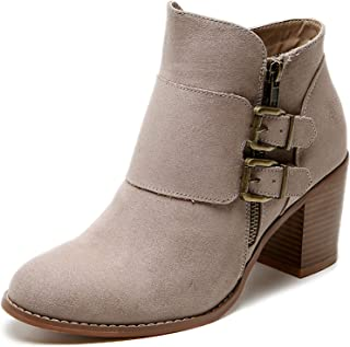 Women's Wide Width Ankle Boots, Cozy Comfortable Mid Heel Foldover Buckle Zipper Martin Boots,Warm Ankle Booties.