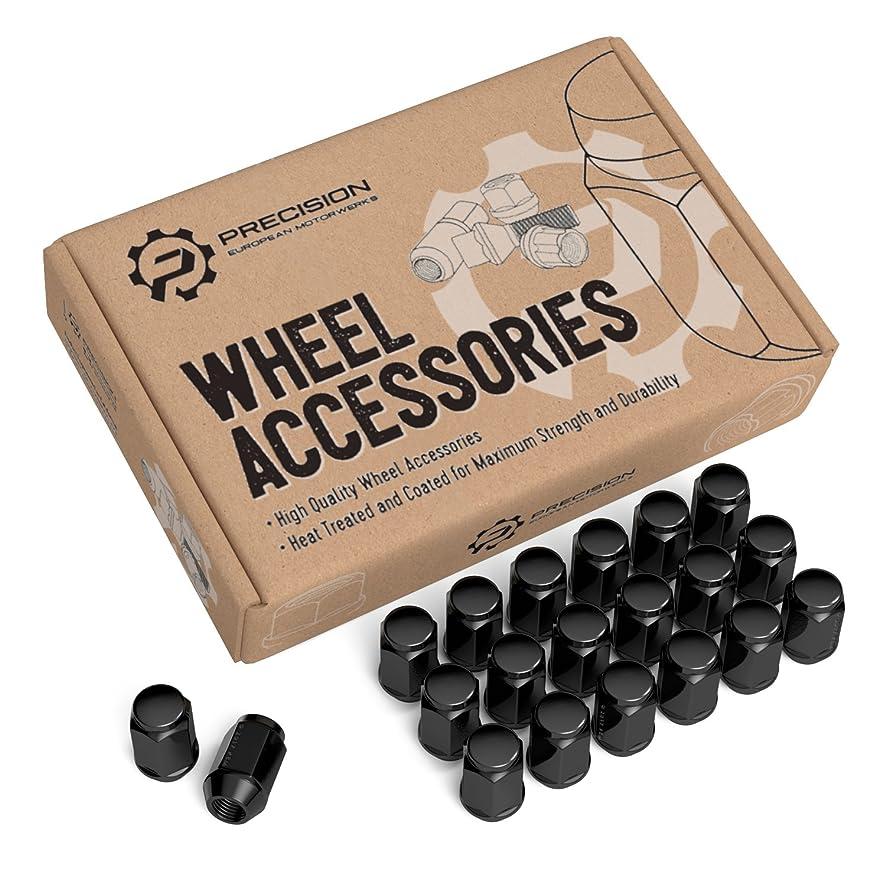 20pc Black Bulge Lug Nuts, Metric 12x1.5 Thread, 1.4
