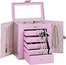 Large Mirror Luxury Jewellery Box Cabinet Necklaces Rings Watch Storage Case Box for Women Men 241 (Pink)
