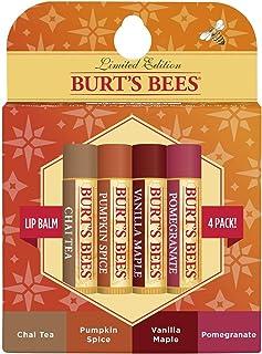 Burt's Bees 100% Natural Moisturizing Lip Balm, Fall Variety Pack, Chai Tea, Pumpkin Spice, Vanilla Maple, Pomegranate, 4 ...
