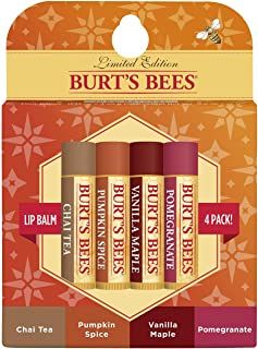 Burt's Bees 100% Natural Moisturizing Lip Balm, Holiday Pack, Chai Tea, Pumpkin Spice, Vanilla Maple, Pomegranate, 4 Tubes of Lip Balm