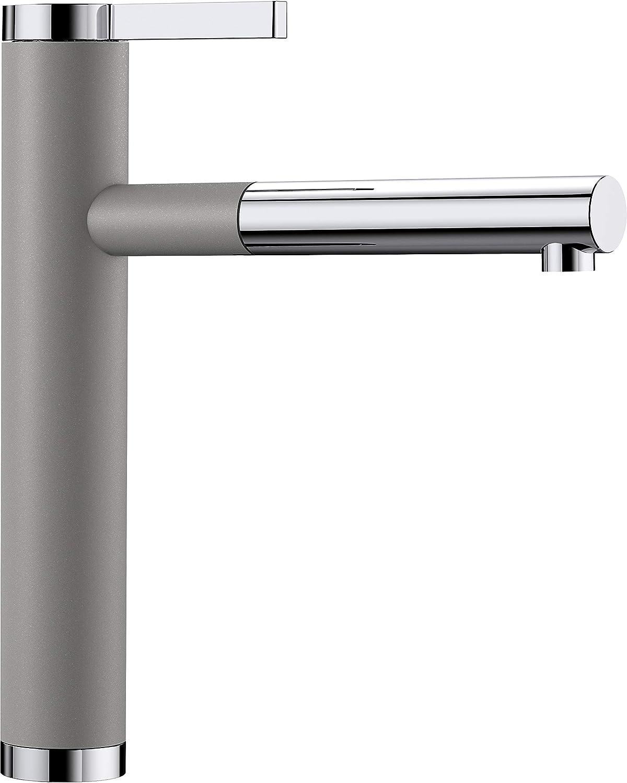 Weiß Linee-S, Küchenarmatur - Einhandmischer, exklusiver Wasserhahn mit ausziehbarer Brause, Silgranit-Look zweifarbig, alu metallic   chrom, Hochdruck, 1 Stück, 518439