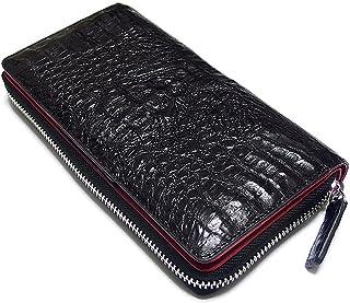 [EVERSOUL] 長財布 クロコダイル 本革 レザー 財布 ラウンドジッパー 革 カイマン ロングウォレット