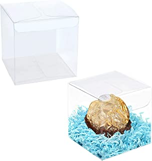 Clear Favor Boxes 10x10x10 cm, 12 pcs PVC Transparent Box for Gifts Macaron Cupcake Candy Cookies Ornament Gifts Wedding P...