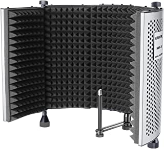 Neewer NW-5 Foldable Adjustable Portable Sound Absorbing Vocal Recording Panel, Aluminum Acoustic Isolation Microphone Shield with High-Density Foam, Non-slip Feet for Stand Mount or Desktop Use