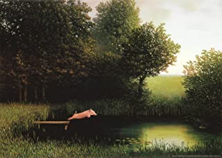 (20x28) Michael Sowa Diving Pig Kohler's Schwein Art Print Poster